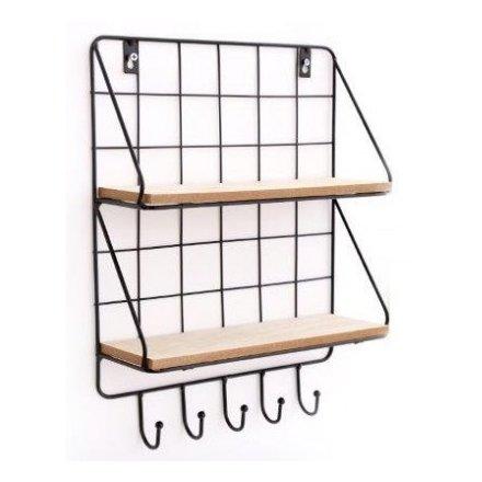 Wire & Wood Shelving Unit, 40cm