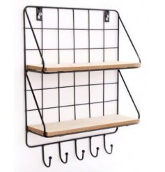 A sleek and stylish black wire wall unit with added natural wooden shelves and a row of hanging hooks