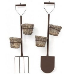 A quirky and fun way to show of your bright blooms in the summer, an assortment of fork and shovel themed plant stands