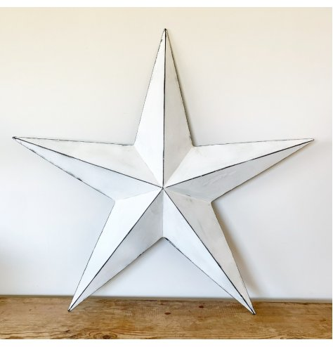 A rustic white barn star with a distressed finish. Complete with hook to hang.