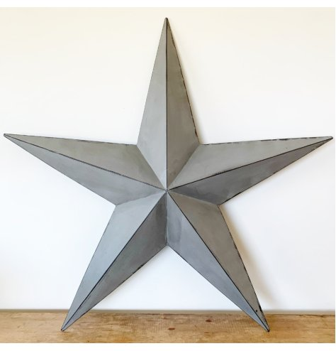 A stunning grey metal barn star with distressed detailing. Hang or display on shelves for that WOW factor this season.