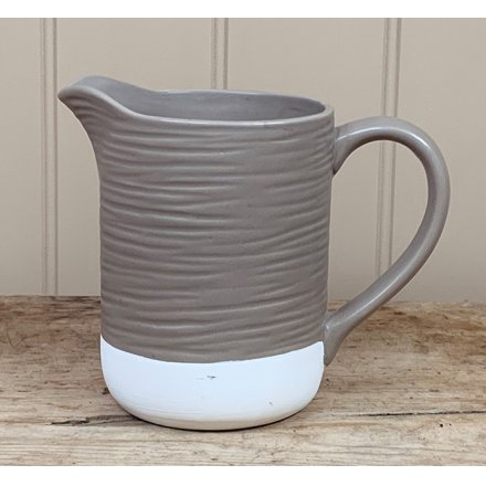 A chic and stylish two tone ceramic jug with added ridged decals