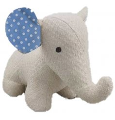 An adorable plush Elephant doorstop set in a knitted white fabric design, perfectly complete with blue spotted ears