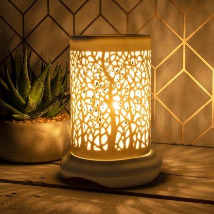 White Ceramic Lamp, Forest