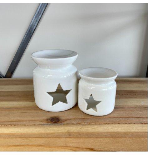 A Crisp White Oil Burner in Star Cut Out Design