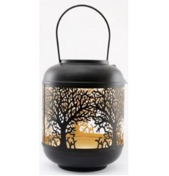 A black and gold base toned metal lantern featuring a delicately cut out tree decal