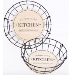 Each set with a wooden base and script text decal, these bowls are perfect for any trendy kitchen
