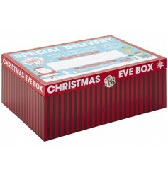 A wooden based Christmas Eve box complete with a festive red and blue decal and plain space to personalise