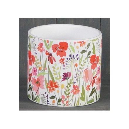 Bright Meadow Ceramic Pot, 14cm
