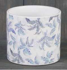 Covered with a faded blue toned leaf decal, this medium sized ceramic pot is just perfect for placing in the home
