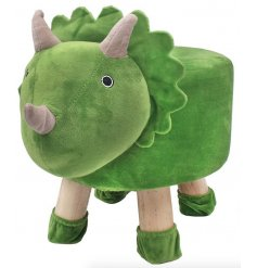 A large and plush green dinosaur stool with added matching sockies to prevent floor scratches!
