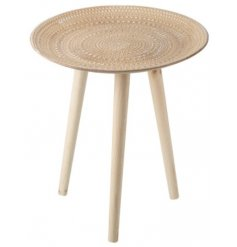 A natural wooden three legged side table complete with a boho themed ridged top pattern