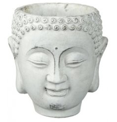 Set with an overly distressed finish, this smiling Buddha pot will be perfect for adding a calming zen to your home deco