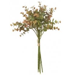 A large artificial spray of Eucalyptus Leaves with subtle burnt orange hint to it