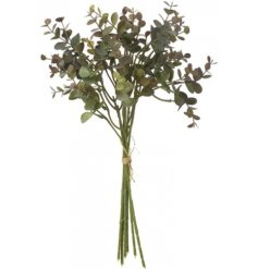 A large bunch of artificial wild grown Eucalyptus Leaves with an added burgundy hint