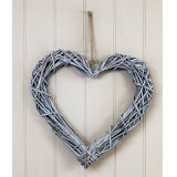 Wall hanging rattan heart with white wash and jute hanger