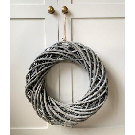 40cm Rattan Wreath Grey Wash