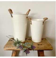 A simple and stylish flower bucket in cream. Made from metal with chunky rope handles.