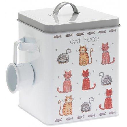 Cat Food Faithful Friends Storage Tin, 25cm