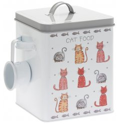 Complete with its hanging scoop, this storage tin is perfect for keeping your 4 pawed friends food fresh!