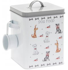 A large metal tin set with a sleek grey and white tone, perfectly decorated with an array of carton dog prints