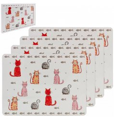 A set of four cork based placemats each decorated with a quirky and colourful cat print