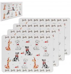 A set of four cork based placemats each decorated with a quirky and colourful dog print