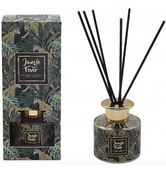 Sure to bring a wild touch to any home space, a sweetly scented reed diffuser with an on trend print
