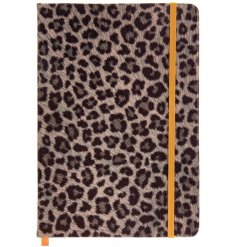 A quirky and stylish A5 notebook set with a cheetah print and added yellow elasticated holder