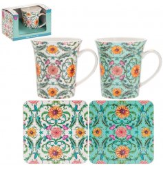 Beautifully decorated with a striking sunflower and entwining vine decal, this assortment of mug and coaster sets are a