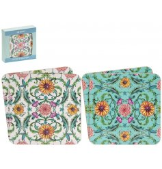 An assorted set of cork based coasters, beautifully decorated with a striking floral pattern