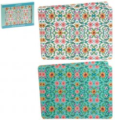 Amadeus Placemat Set  An assorted set of cork based placemats, beautifully decorated with a striking floral pattern