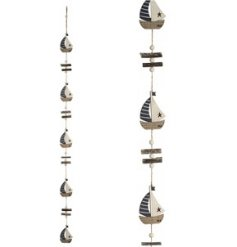 A quirky coastal themed hanging wooden garland, decorated with little boats