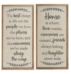 An assortment of natural wooden framed plaques, each beautifully finished with a scripted text decal