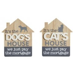 an assortment of house shaped wooden plaques with scripted pet texts
