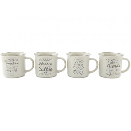 Script Text Tea and Coffee Mugs