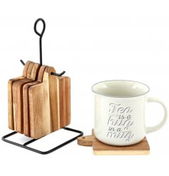 Have these sleek acacia wooden coasters at the ready with their added hanging hook display