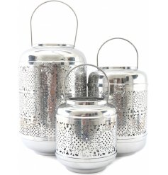 A gorgeous set of Silver Luxe themed metal lanterns in assorted sizes