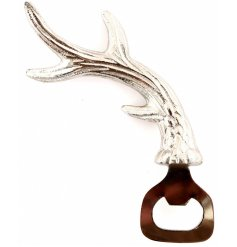 A silver toned antler shaped bottle opener, perfect for any summer bbq in the garden!