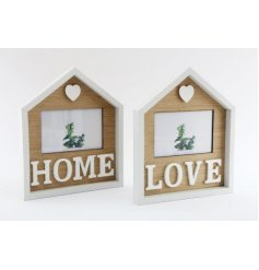 A charming assortment of natural wooden house shaped picture frames decorated with text decals and a heart finish