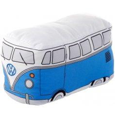 A retro Volkswagen Camper Van shaped doorstop in a traditional blue tone,