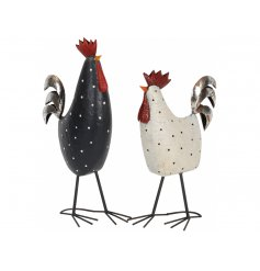 An assortment of 2 rustic chicken and rooster decorations. Each has a charming dotty design in black and white