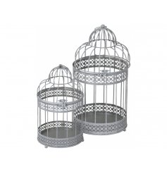 A set of 2 stylish bird cage lanterns, each with a decorative pattern and grey finish.