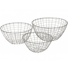 A set of 3 rustic round metal baskets with a grey finish. Super stylish and practical for many different uses.