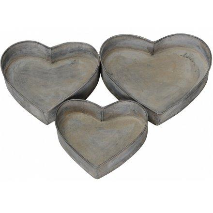 Metal Heart Trays, Set 3