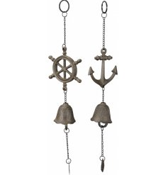 An assortment of cast iron hanging bell garlands decorated with a Nautical theme