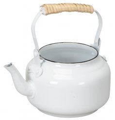 A super stylish and unique white metal teapot planter.