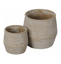 A charming set of 2 vases with a natural, washed finish. Rustic with a brick and stripe patterned design.