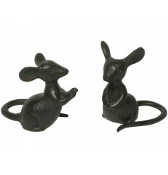An assortment of 2 charming cast iron mice ornaments