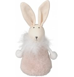 A charming bunny decoration with pointed ears, a feathered collar and faux fur pink coat.